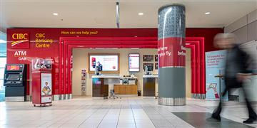 CIBC Banking Centre with service counter and ATM.