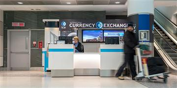 International Currency Exchange counter.